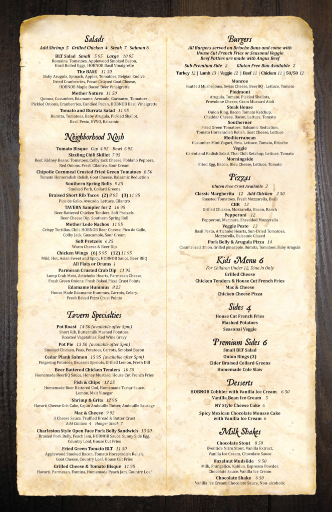 HONBOB Atlanta Menu