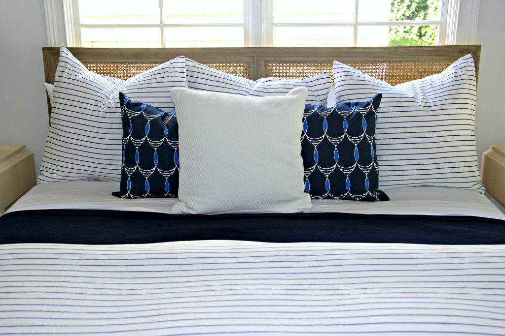 Blue and White Bedroom with Stripes